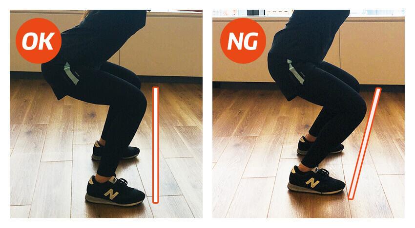 【ケース2】膝がつま先よりも前に出てしまう
