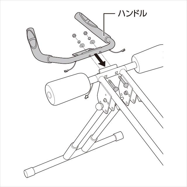5.ハンドルをメインフレームに取り付ける(1)|アブクラッシャー(腹筋マシン)の組み立て方