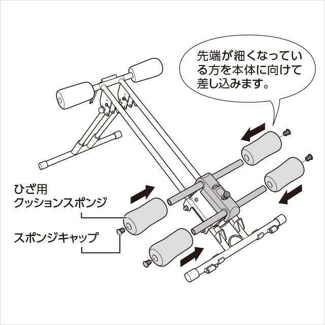 4.ひざ置き台にひざ用クッションスポンジを取り付ける(1)|アブクラッシャー(腹筋マシン)の組み立て方