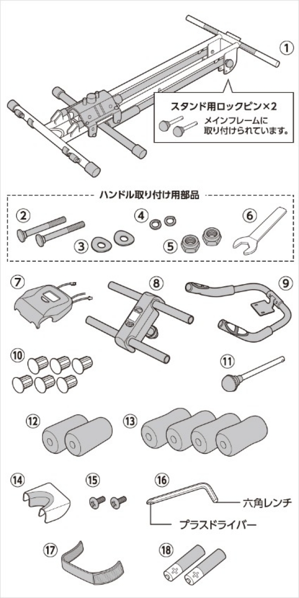 セット内容の確認|アブクラッシャー(腹筋マシン)の組み立て方