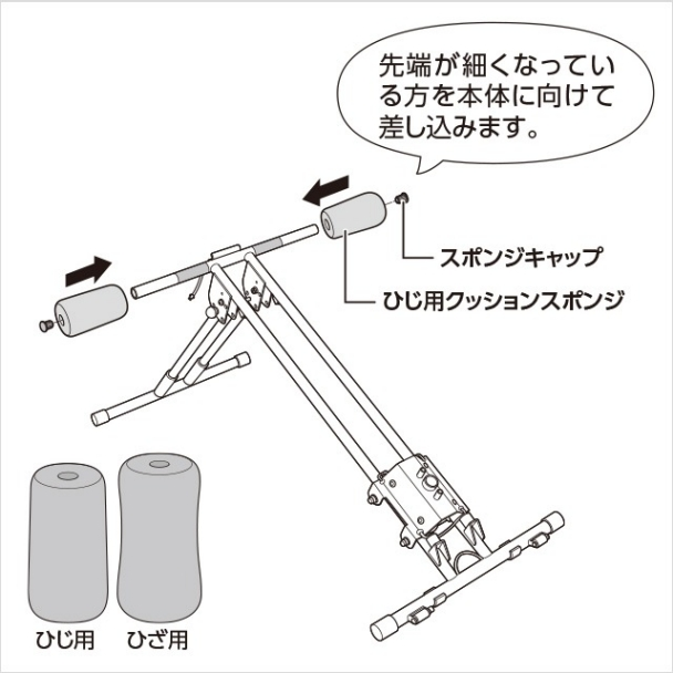 2.ひじ用クッションスポンジを取り付ける(1)|アブクラッシャー(腹筋マシン)の組み立て方
