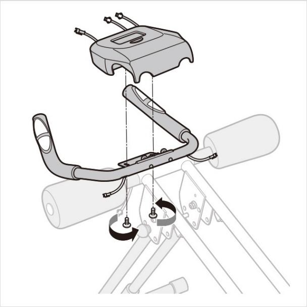 6.メーターをハンドルに取り付ける。(2)|アブクラッシャー(腹筋マシン)の組み立て方