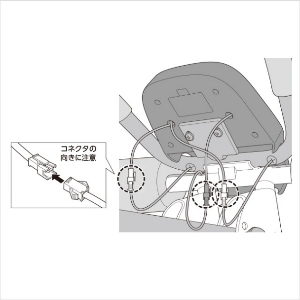 各コネクタを接続します。(3箇所)(1)|アブクラッシャー(腹筋マシン)の組み立て方
