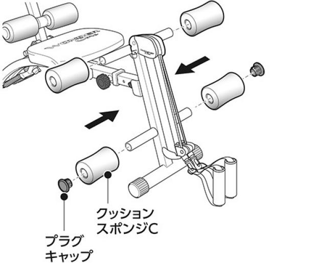 脚用クッションスポンジの取り付け|ワンダーコア2の組み立て方