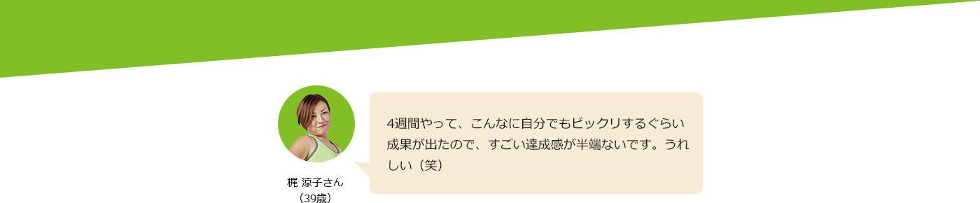 梶 涼子さん(39歳) 4週間やって、こんなに自分でもビックリするぐらい成果が出たので、すごい達成感が半端ないです。うれしい(笑)