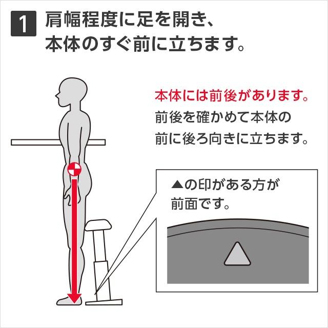 1肩幅程度に足を開き、本体のすぐ前に立ちます。本体には前後があります。前後を確かめて本体の前に後ろ向きに立ちます。▲の印がある方が全面です。