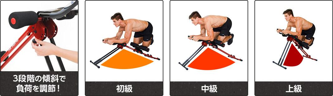 3段階の傾斜で負荷を調整