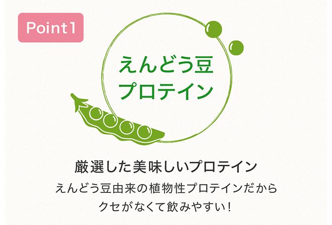 Point1 えんどう豆プロテイン 厳選した美味しいプロテイン えんどう豆由来の植物性プロテインだから クセがなくて飲みやすい!