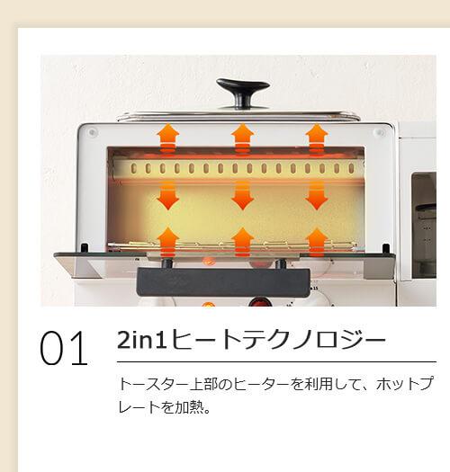 01 2in1ヒートテクノロジー トースター上部のヒーターを利用して、ホットプレートを加熱。