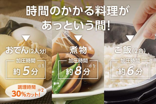 時間のかかる料理があっという間! おでん(2人分)加圧時間約5分※1 煮物加圧時間約8分※1 ご飯(2合)加圧時間約6分※1 調理時間30%カット!※2