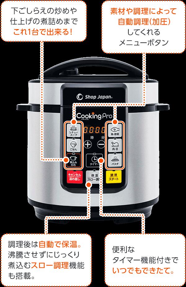 下ごしらえの炒めや仕上げの煮詰めまでこれ1台で出来る! 素材や調理によって自動調理(加圧)してくれるメニューボタン 調理後は自動で保温。沸騰させずにじっくり煮込むスロー調理機能も搭載。 便利なタイマー機能付きでいつでもできたて。
