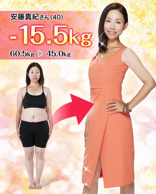 安藤真紀さん(40) -15.5kg