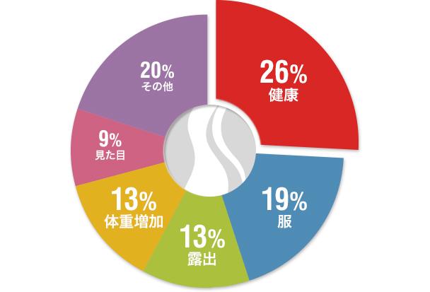 26%健康19%服13%露出13%体重增加9%見た目20%その他