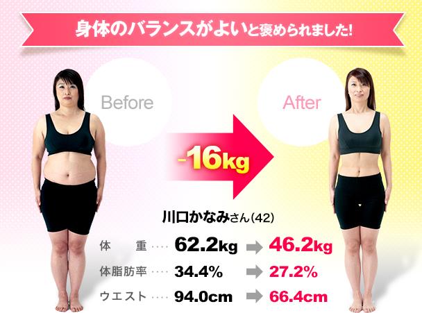 身体のバランスがよいと褒められましだ!Before -16kg after 川口かなみさん(42)