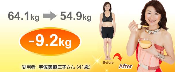 64.1kg→54.9kg -9.2kg 宇佐美麻三子さん(41歳)