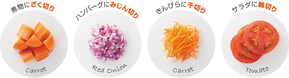 煮物にざく切り Carrot ハンバーグにみじん切り Red Onion きんぴらに千切り Carrot サラダに輪切り Tomato