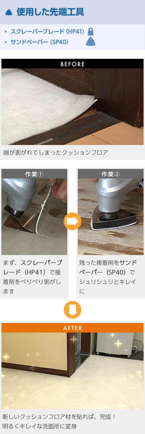 使用した先端工具 スクレーパーブレード(HP41)サンドペーパー(SP40) BEFORE 端が剥がれてしまったクッションフロア 作業1 まず、スクレーパーブレード(HP41)で接着剤をべりべり剥がします 作業2 残った接着剤をサンドペーパー(SP40)でシュリシュリとキレイに AFTER 新しいクッションフロア材を貼れば、完成! 明るくキレイな洗面所に変身