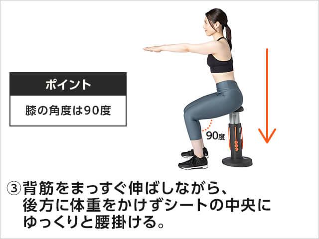 ポイント膝の角度は90度③背筋をまっすぐ伸ばしながら、後方に体重をかけずシートの中央にゆっくりと腰掛ける。