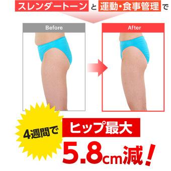 スレンダートーンと運動・食事管理で Before → After 4週間でヒップ最大 5.8cm減!