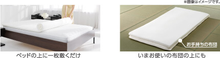 ベッドの上に一枚敷くだけ いまお使いの布団の上にも ※画像はイメージです。
