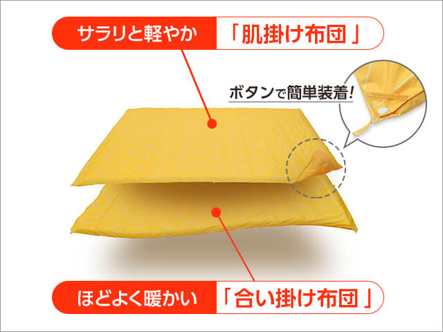 サラリと軽やか「肌掛け布団」 ほどよく暖かい「合い掛け布団」 ボタンで簡単装着!