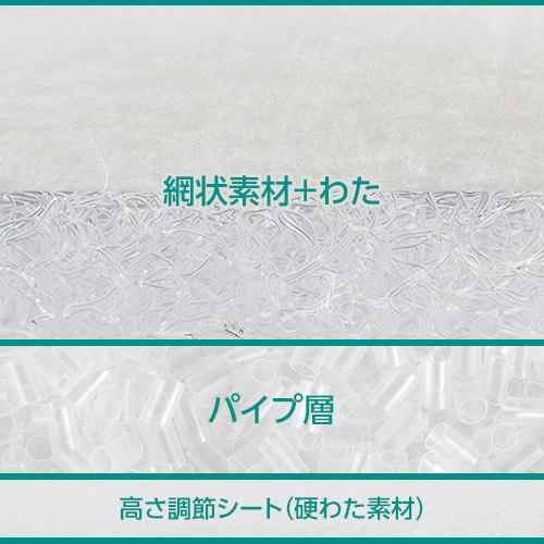 網状素材+わた パイプ層 高さ調節シート(硬わた素材)
