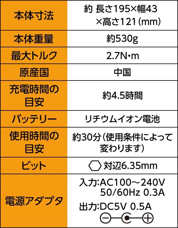 本体寸法 約長さ195×幅43×高さ121(mm) 本体重量 約530g 最大トルク 2.7N・m 原産国 中国 充電時間の目安 約4.5時間 バッテリー リチウムイオン電池 使用時間の目安 約30分(使用条件によって変わります) ビット 対辺6.35mm 電源アダプタ 入力:AC100~240V 50/60Hz 0.3A 出力:DC5V 0.5A