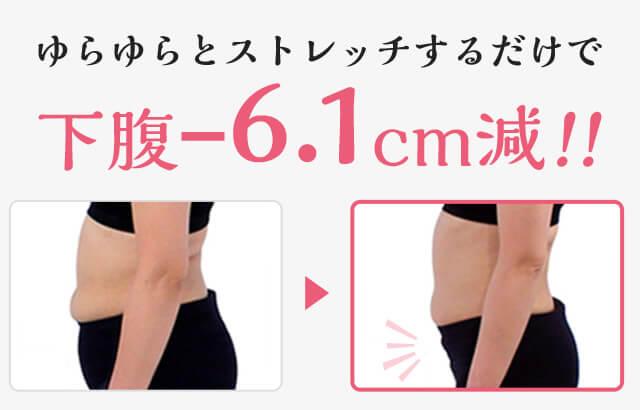ゆらゆらとストレッチするだけで下腹-6.1cm減!!