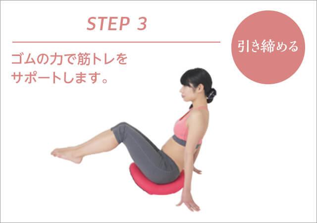 STEP3 引き締める ゴムの力で筋トレをサポートします。