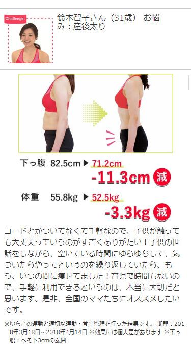 Challenger 鈴木智子さん(31歳) お悩み:産後太り 下っ腹82.5cm→71.2cm -11.3cm減 体重55.8kg→52.5kg -3.3kg減コードとかついてなくて手軽なので、子供が触っても大丈夫っていうのがすごくありがたい!子供の世話をしながら、空いている時間にゆらゆらして、気づいたらやってというのを繰り返していたら、もう、いつの間に痩せてました!育児で時間もないので、手軽に利用できるというのは、本当に大切だと思います。是非、全国のママたちにオススメしたいです。 ※ ゆらこの運動と適切な運動・食事管理を行った結果です。※ 期間:2018年3月18日~2018年4月14日※ 効果には個人差があります。※ 下っ腹:へそ下3cmの腹囲