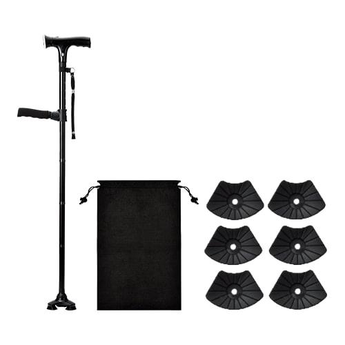 【公式】本体+替えゴム/収納袋セット(ロング)立つ・歩く・座るを支えるクレバーケーン。3点構造の安定性と360度回転の柔軟性で歩行をサポート。<Shop Japan(ショップジャパン)公式>
