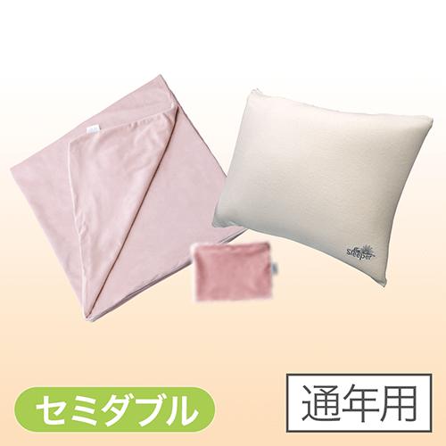 【正規品】トゥルースリーパー 快適安眠セット - 快適安眠セット セミダブル ピンク【通年用】 <Shop Japan(ショップジャパン)公式>ピロー、ピローカバー、マットレスカバーの3点セット。