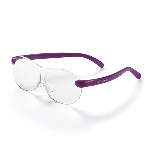 【公式】ズーミイ パープル×2見やすさと洗練されたデザインを兼ね備えたメガネ型拡大鏡<Shop Japan(ショップジャパン)公式>